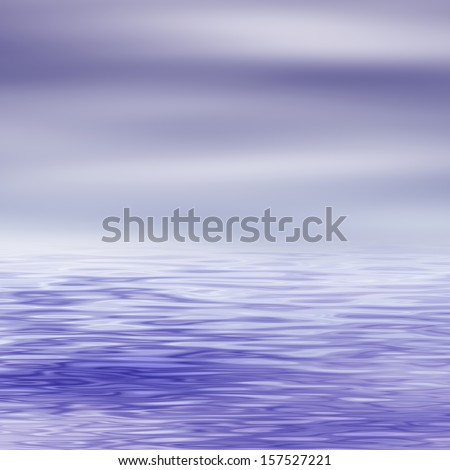 Water surface and cloudy sky, digitally rendered seascape.