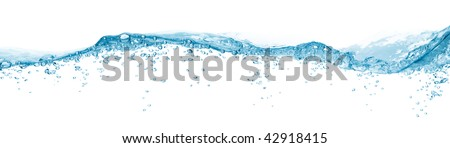 water surface with bubble and wave