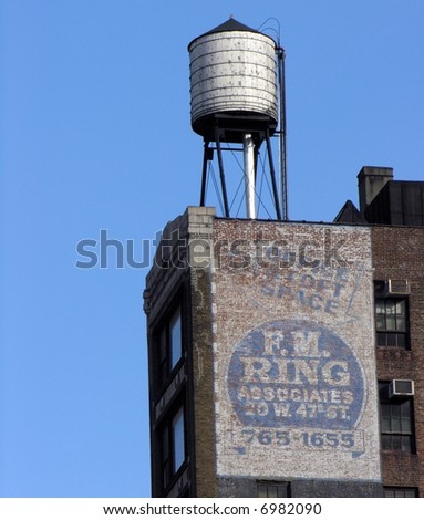 Water tank atop Brooklyn building