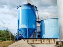 Water tank in the factory. System water control industry