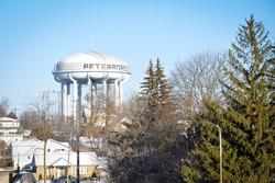 Water tank tower in Peterborough, Ontario, Canada