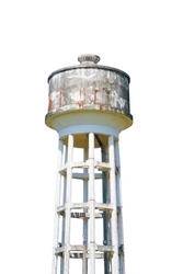 water tank tower old for agriculture on white background isolated on white background and clipping path