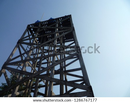 Water tank tower, wooden structure. #1286767177