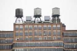 Water tanks in the building top.