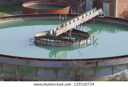 Water tanks in the wastewater treatment processing
