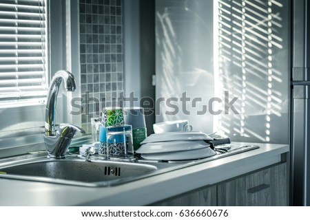 water tap, dish wash dishes, plate, sunny morning