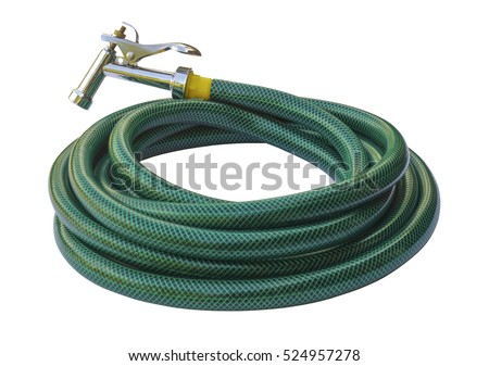 Water taps and green garden hose with a sprayer isolated on a white background.