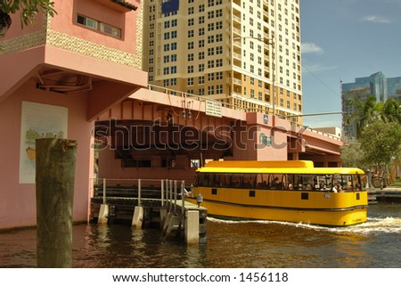 water taxi shuttles residents and visitors along New River in Los Alos and Ft. Lauderdale, Florida
