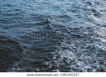 Water texture Blue sea, blue ocean. #1381202327