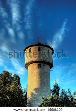 Water tower against a backdrop of blue sky