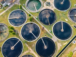 Water treatment facilities. Sewage treatment plant. Round sedimentation tanks and Radial primary sump. Sedimentation tanks of treatment facilities