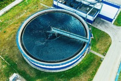 Water Treatment Plant with Round Cylinder of Clarifier Sedimentation Tank, Aerial Top View.