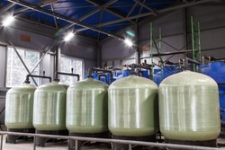 water treatment tanks. industrial tank. water purification process