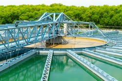 Water treatment,the process of making raw water to clean by putting chemicals in the machines,processing of the solid contact clarifier sediment tank.Wastewater Treatment Plant with steel structure.