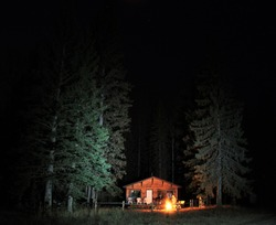 Water Valley Cabin Night Campfire Alberta