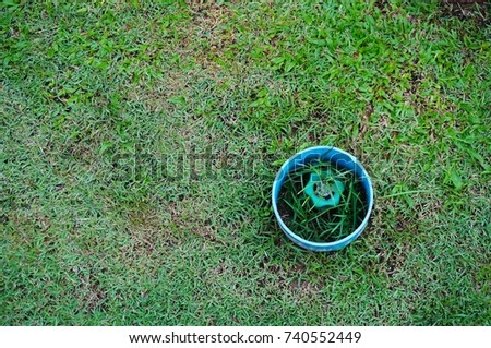 Water valve on outdoor lawn #740552449