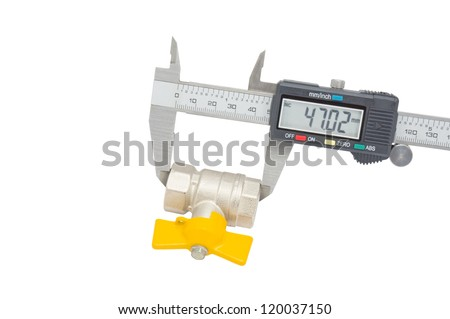 Water valve set and Vernier caliper isolated on white background