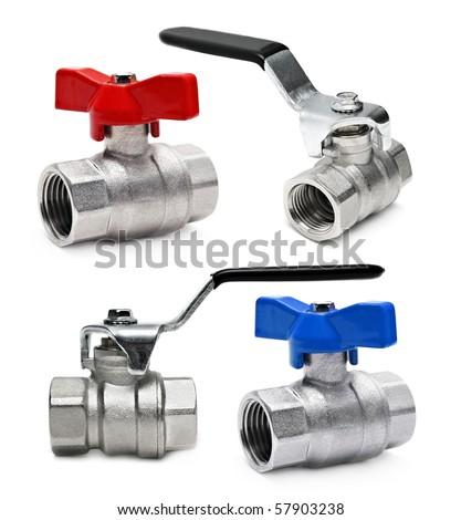Water valve set isolated on white background