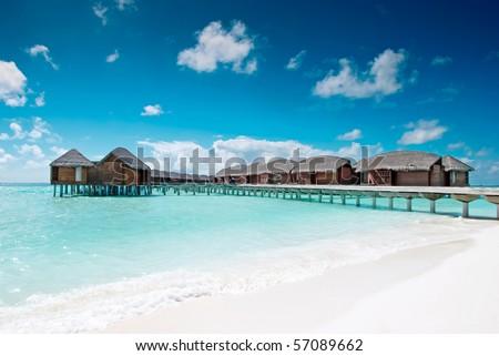 Water village in the Maldives islands