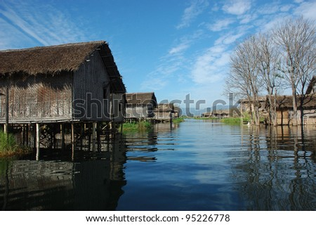 Water village on Inle Lake - stock photo