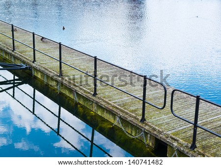Water walkway through the lake composition