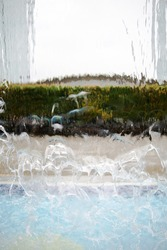 Water wall translucent, blurred background