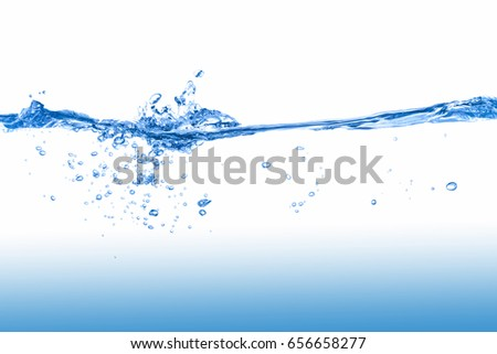 Water,Water splash  isolated on white background with air bubble and a clean water.  #656658277