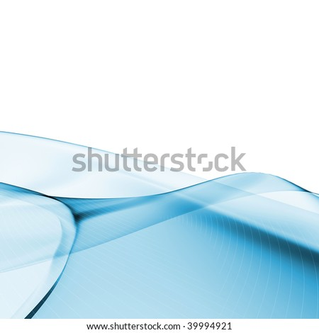 Water wave - abstract glassy organic color smoke shape on white background