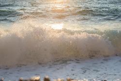 Water wave of sea coast seaside in France sunset