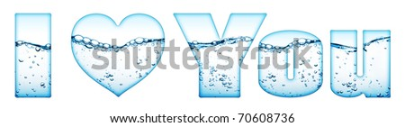 """water wave with bubbles """"i love you"""" isolated on white"""