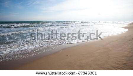 water waves near the coastline, extreme closeup