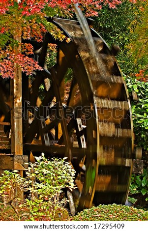 Water wheel in the autumn