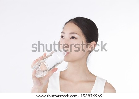 Water with a young woman