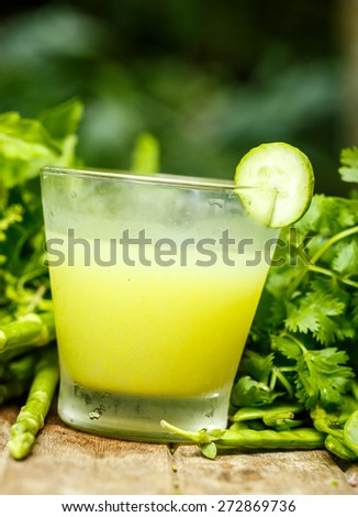 Water with cucumber and herbs. Detox #272869736