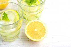 water with cucumber, lemon and ice