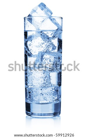Water with ice cubes. Isolated on white