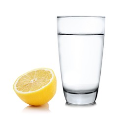 water with lemon on white background