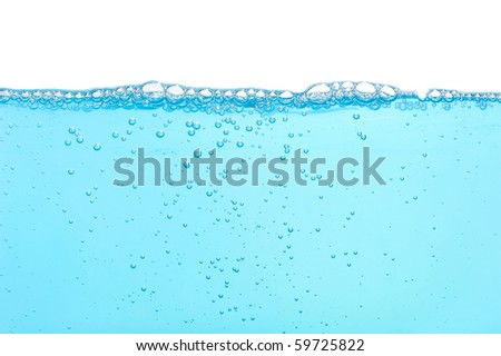 Water with many bubbles isolated on white