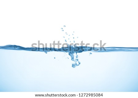 Water with splash and bubbles