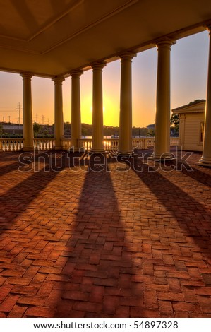 Water Works Schuykill River Philadelphia shadows at sunset