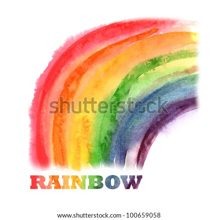 Watercolor Abstract Background - Rainbow - stock photo