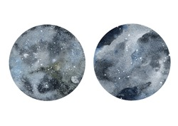 Watercolor abstract cosmic circles on white background.
