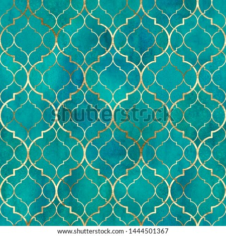 Watercolor abstract geometric seamless pattern. Vintage decorative moroccan texture with gold line. Watercolour hand drawn green teal golden background. Print for textile, wallpaper, wrapping.