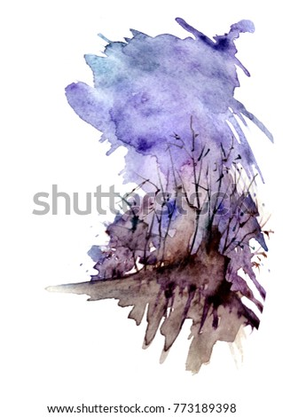 Watercolor abstract spot with outlines, silhouette, tree, bush, windy weather. Country landscapes against the blue sky. Fashionable art illustration. A beautiful splash of paint.
