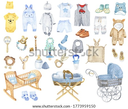 Watercolor accessories for newborns. Items for a newborn boy clipart. Drawing blue baby clothes. Children's decor. Booties, body, baby cradle illustration.