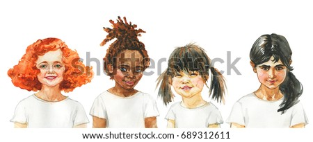 Watercolor african, european, indian and asian little girls. Hand drawn children portrait. Painting illustration of tolerance, equality, friendship and love. Happy International Day of Peace