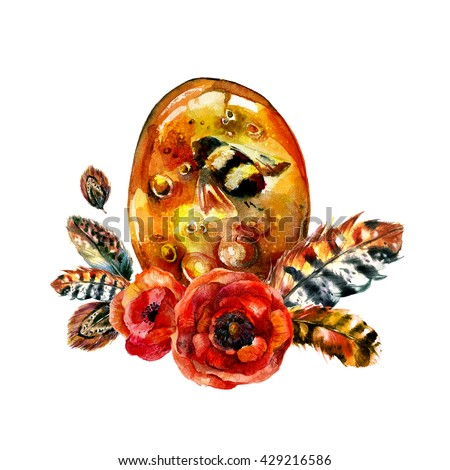 Watercolor Amber with insect, poppies and feathers in boho style. Hand drawn illustration