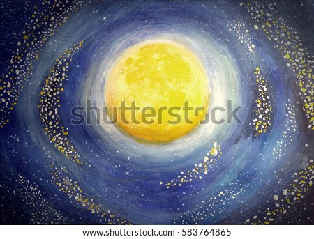 Stock Photo Watercolor and gouache Illustration. Full moon in the night sky