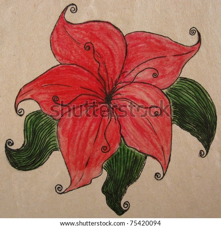 Watercolor and ink hand-drawn magic hibiscus