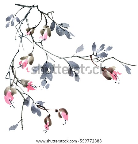 Watercolor and ink illustration of blossom tree branch. Sumi-e, u-sin painting.